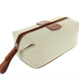 Canvas and Leather Wash Bag - Beige
