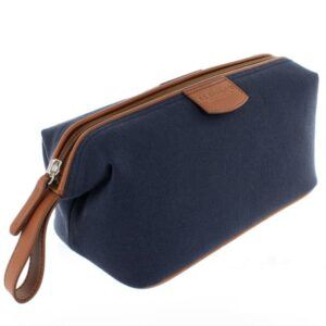 Canvas and Leather Wash Bag - Blue