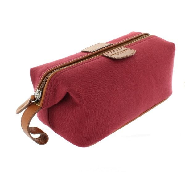 Canvas and Leather Wash Bag - Burgundy