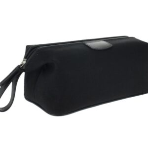 Canvas and Leather Wash Bag - Black