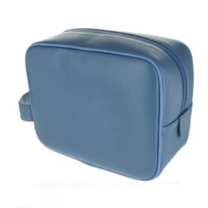 Small Leather Wash Bag - Mid Blue