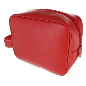 Small Leather Wash Bag - Red