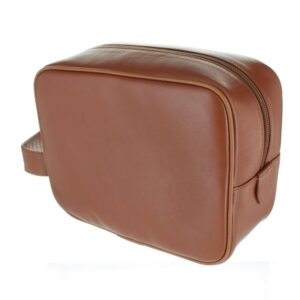 Small Leather Wash Bag - Tan
