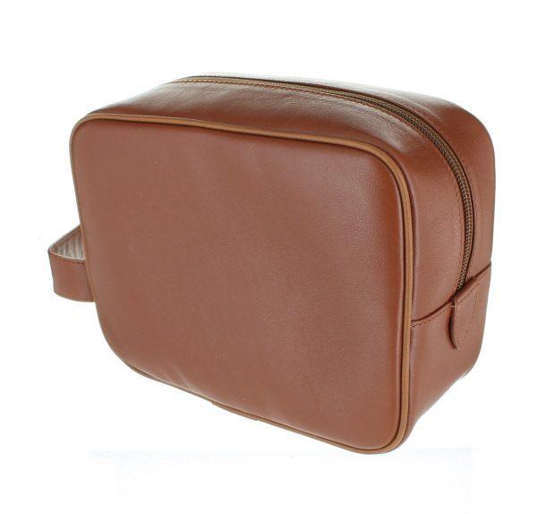 Small Leather Wash Bag - Tan