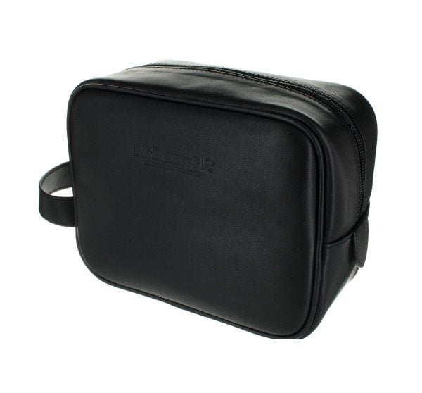 Small Leather Wash Bag - Black
