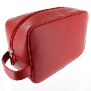 Large Leather Wash Bag - Red