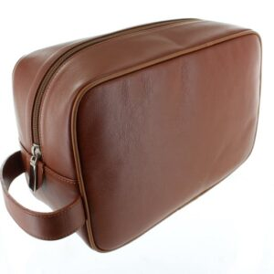 Large Leather Wash Bag - Tan