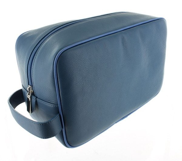 Large Leather Wash Bag - Mid Blue