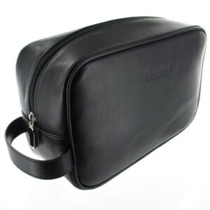 Large Leather Wash Bag - Black